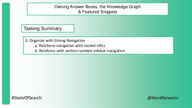 #StateOfSearch @AlanBleiweiss Owning Answer Boxes, the Knowledge Graph & Featured Snippets Tasking Summary 3. Organize wit...