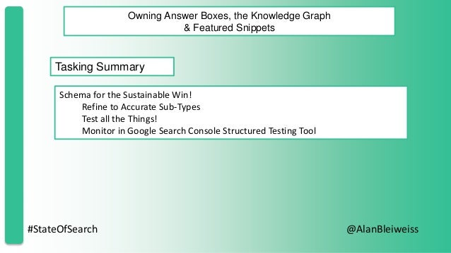 #StateOfSearch @AlanBleiweiss Owning Answer Boxes, the Knowledge Graph & Featured Snippets Tasking Summary Schema for the ...