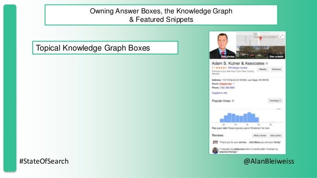#StateOfSearch @AlanBleiweiss Owning Answer Boxes, the Knowledge Graph & Featured Snippets Topical Knowledge Graph Boxes
