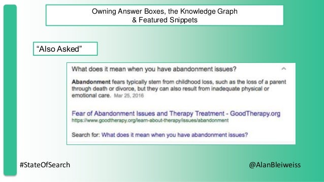 """#StateOfSearch @AlanBleiweiss Owning Answer Boxes, the Knowledge Graph & Featured Snippets """"Also Asked"""""""