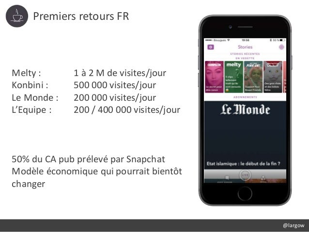 Premiers retours FR @largow Melty : 1 à 2 M de visites/jour Konbini : 500 000 visites/jour Le Monde : 200 000 visites/jour...