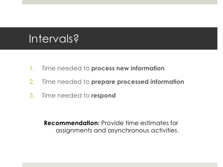 Example IntervalsPrinciple                      Application1.   Time is needed to         1.   Read (2 hours), watch (20  ...
