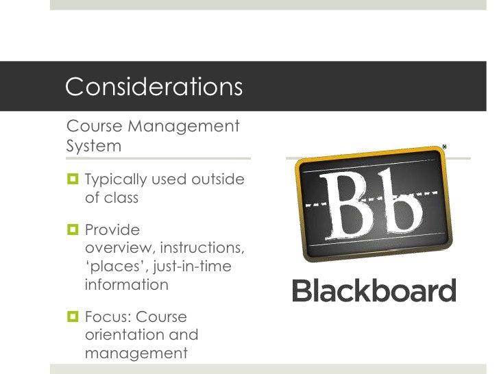 Example: Inside a Bb course     http://jolt.merlot.org/vol3no1/larson-daugherty.htm