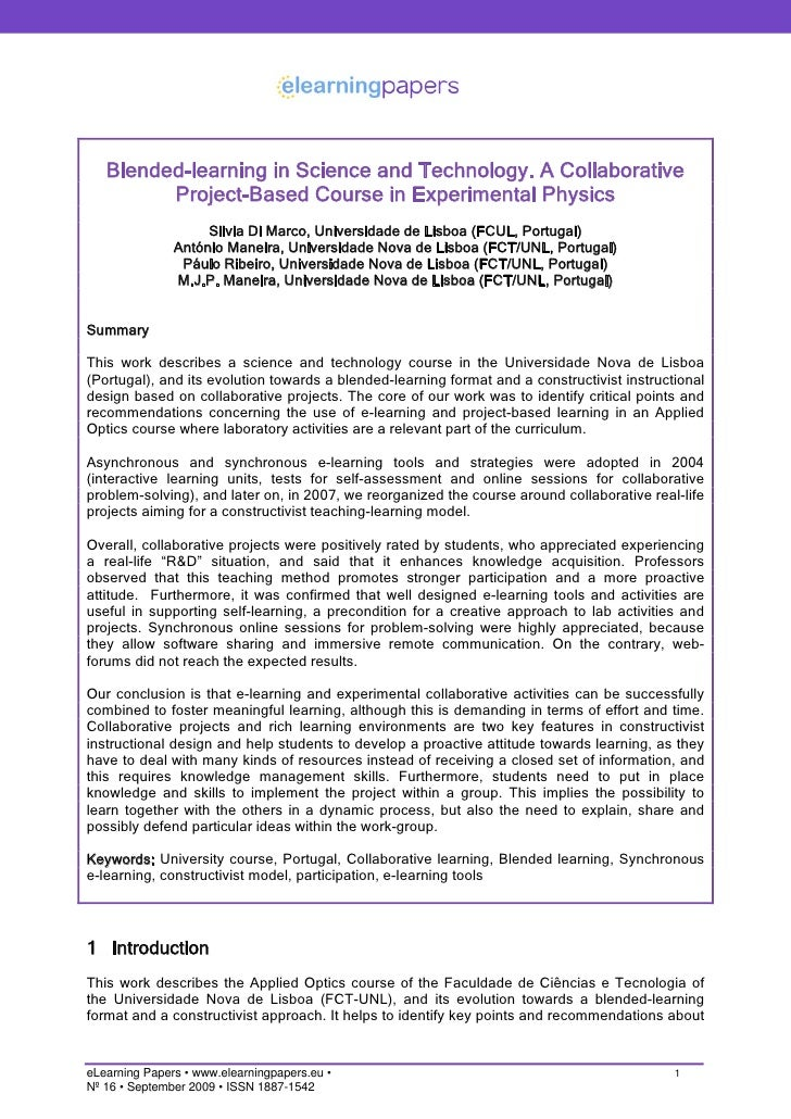 Blended-learning in Science and Technology. A Collaborative          Project-Based Course in Experimental Physics         ...