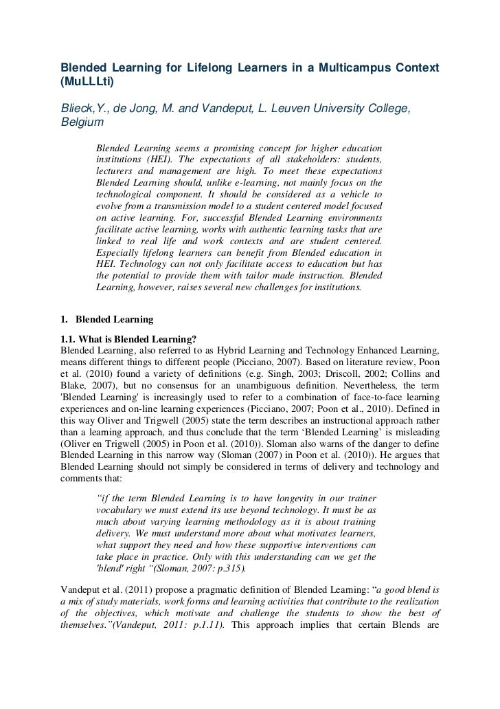 Blended Learning for Lifelong Learners in a Multicampus Context(MuLLLti)Blieck,Y., de Jong, M. and Vandeput, L. Leuven Uni...