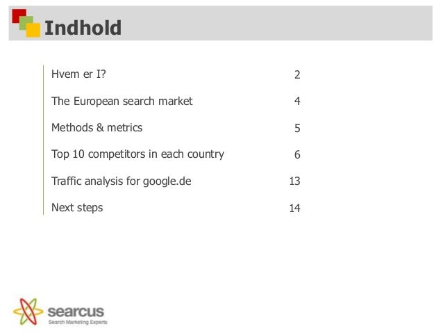 Indhold Hvem er I? The European search market Methods & metrics Top 10 competitors in each country Traffic analysis for go...
