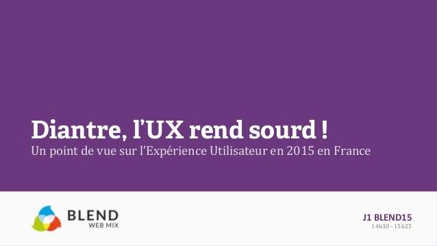 Diantre, l'UX rend sourd ! Un  point  de  vue  sur  l'Expérience  Utilisateur  en  2015  en  France  ...