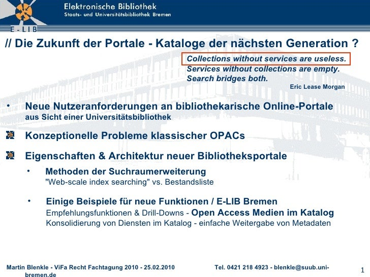 // Die Zukunft der Portale - Kataloge der nächsten Generation ? <ul><li>Konzeptionelle Probleme klassischer OPACs </li></u...