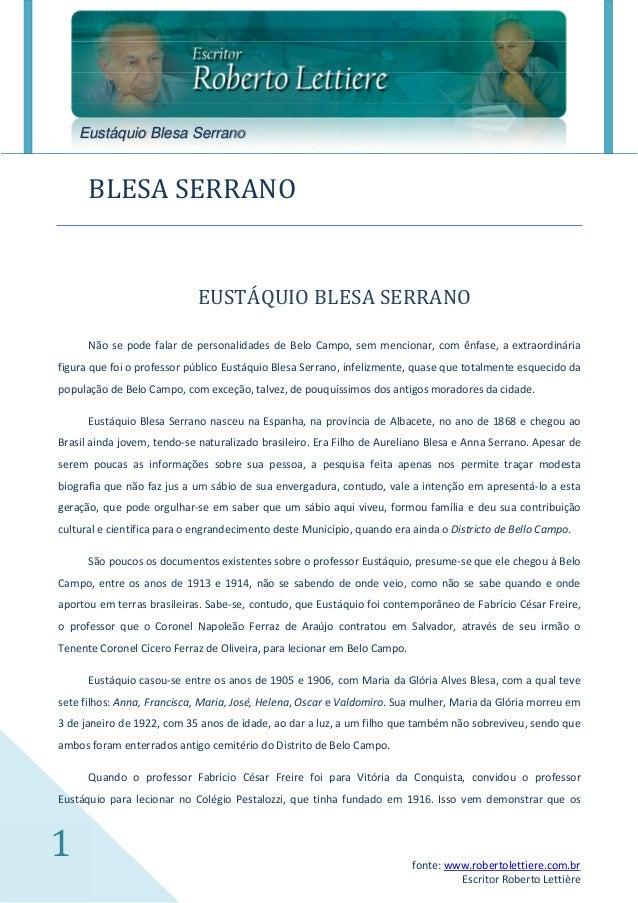 Eustáquio Blesa Serrano      BLESA SERRANO                            EUSTÁQUIO BLESA SERRANO      Não se pode falar de pe...