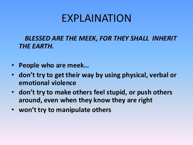 The Shall Mean Meek What Does Inherit It The Earth