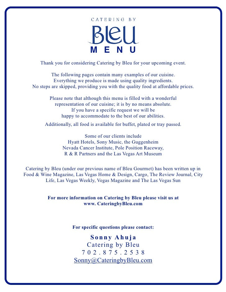 SOFT DRINKS                                      M E N U        Thank you for considering Catering by Bleu for your upcomi...