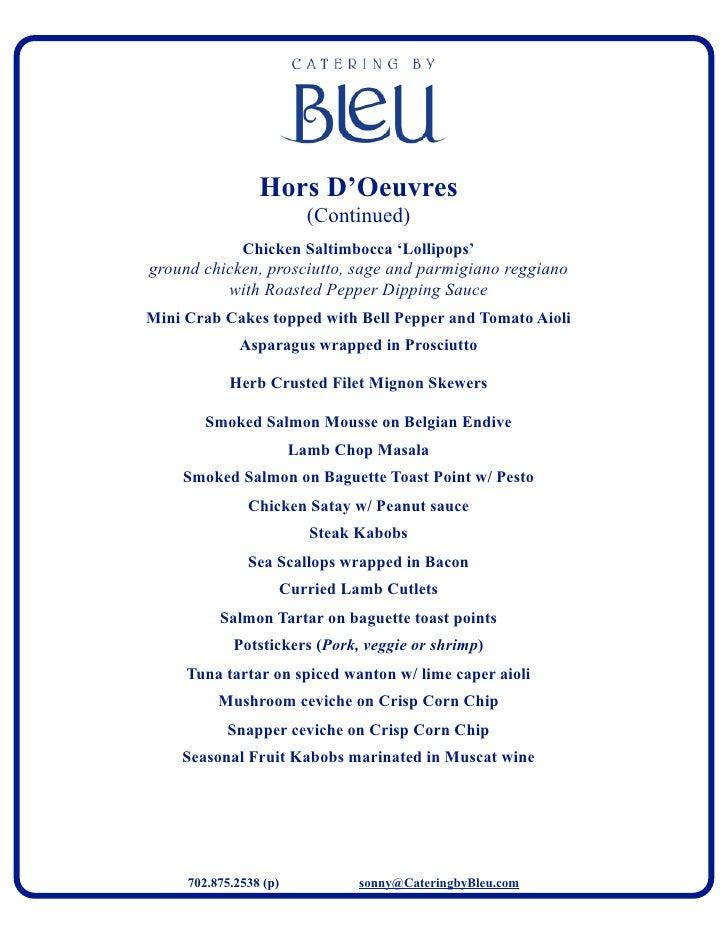 Bleu catering menu