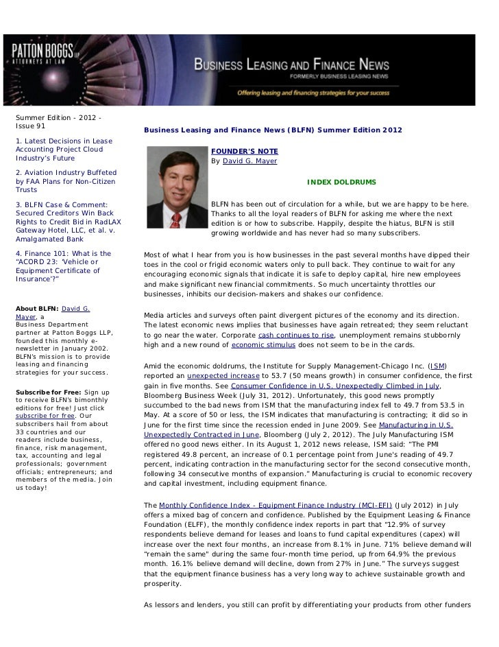 Summer Edition - 2012 -Issue 91                                 Business Leasing and Finance News (BLFN) Summer Edition 20...