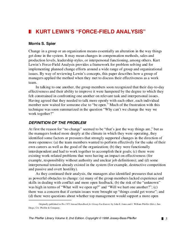 "The Pfeiffer Library Volume 9, 2nd Edition. Copyright © 1998 Jossey-Bass/Pfeiffer ❚❘ 5 ❚❘ KURT LEWIN'S ""FORCE-FIELD ANALYS..."