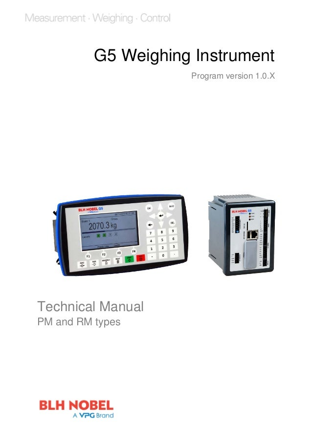 G5 Weighing Instrument Program version 1.0.X Technical Manual PM and RM types