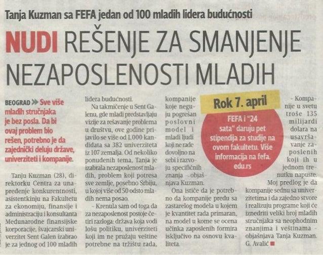 Tanja Kuzman, mast. ekon, Blic, 29. 3. 2014.