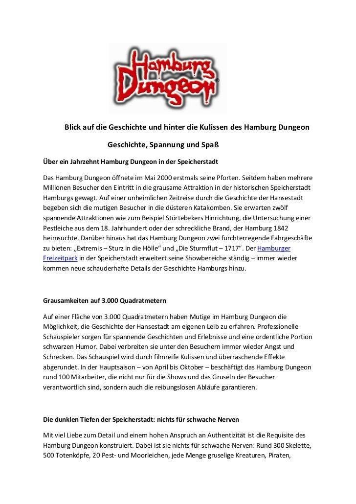 Blick auf die Geschichte und hinter die Kulissen des Hamburg Dungeon                      Geschichte, Spannung und SpaßÜbe...