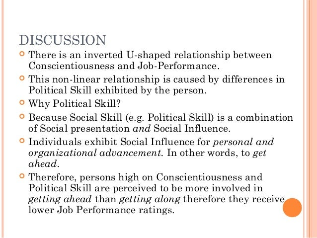 personality and job performance In a research on the relationship between personality and performance motivation, jaj and ellis in a study on five factors personality dimensions and job performance, barik (1991) concluded only conscientiousness has a significant relationship with job performance.