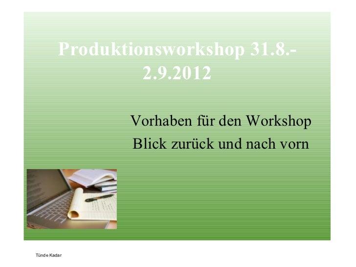 Produktionsworkshop 31.8.-                  2.9.2012                Vorhaben für den Workshop                Blick zurück ...