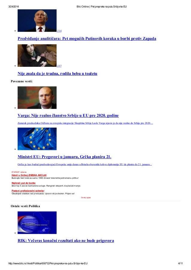 Blic Online Pet Prepreka Na Putu Srbije Ka Eu