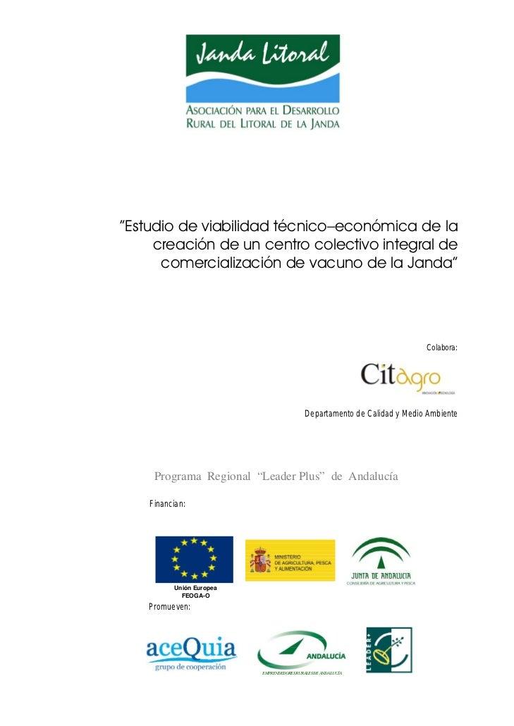 """""""Estudio de viabilidad técnico–económica de la     creación de un centro colectivo integral de      comercialización de va..."""