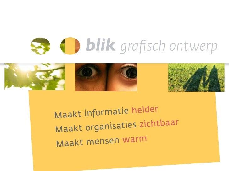 Blik grafisch ontwerp bureaupresentatie