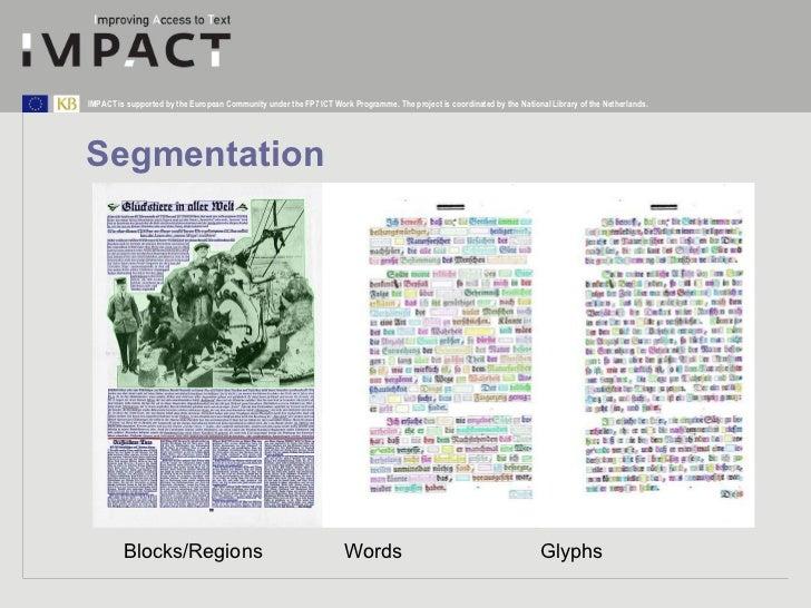 Segmentation Blocks/Regions Words   Glyphs
