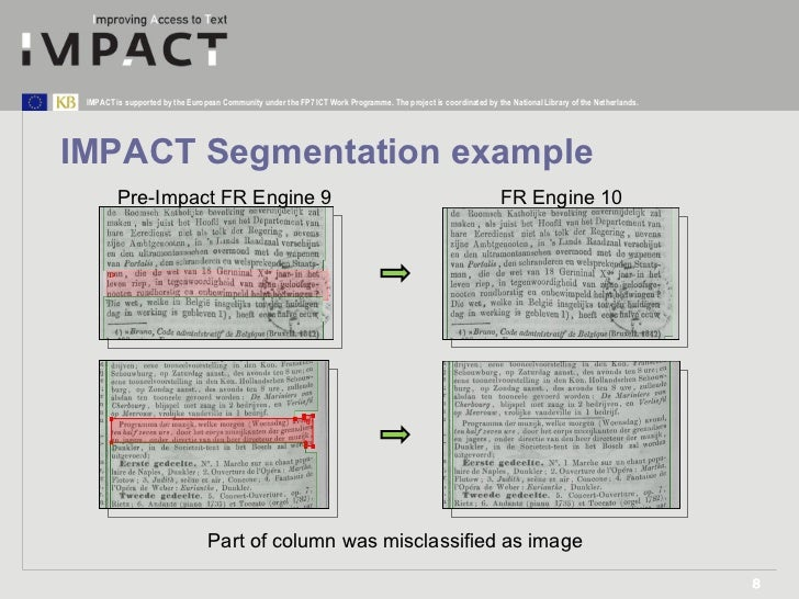 IMPACT Segmentation example Pre-Impact FR Engine 9 FR Engine 10 Part of column was misclassified as image