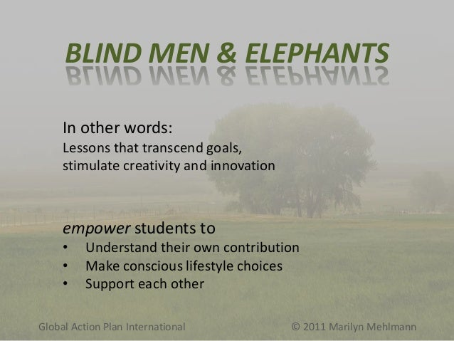 BLIND MEN & ELEPHANTS In other words: Lessons that transcend goals, stimulate creativity and innovation  empower students ...