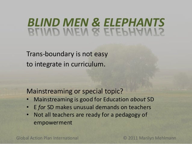 BLIND MEN & ELEPHANTS Trans-boundary is not easy to integrate in curriculum.  Mainstreaming or special topic? • Mainstream...