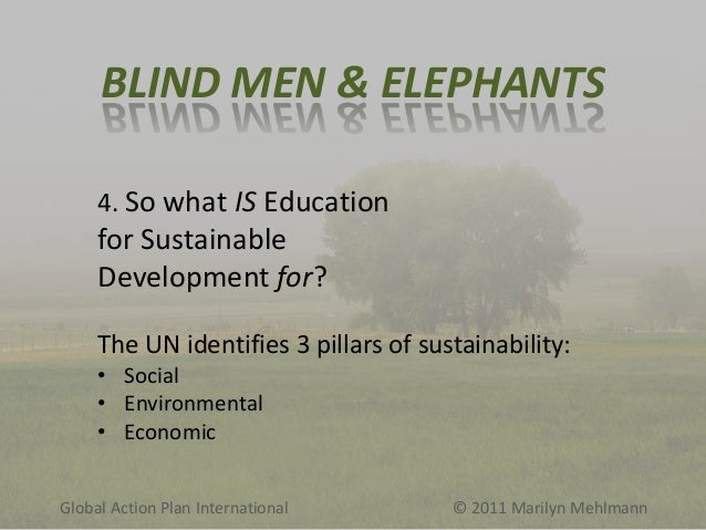 BLIND MEN & ELEPHANTS 4. So what IS Education  for Sustainable Development for? The UN identifies 3 pillars of sustainabil...