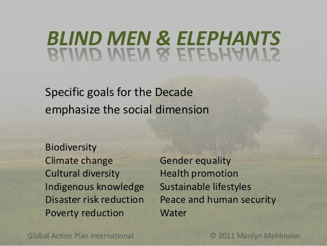 BLIND MEN & ELEPHANTS Specific goals for the Decade emphasize the social dimension Biodiversity Climate change Cultural di...