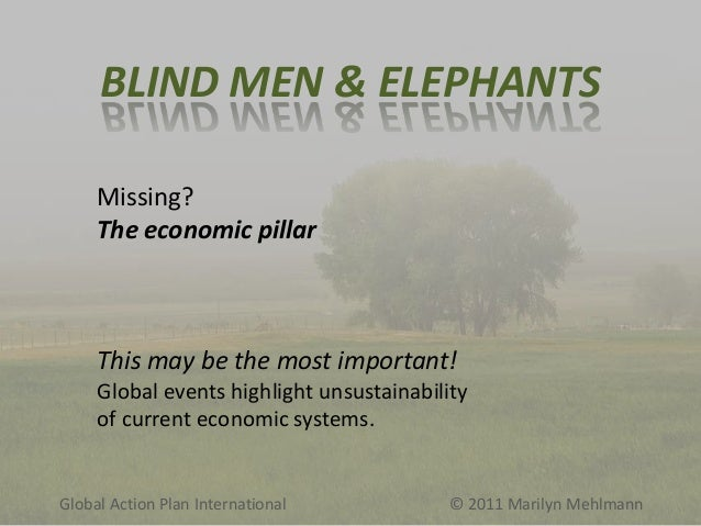 BLIND MEN & ELEPHANTS Missing? The economic pillar  This may be the most important! Global events highlight unsustainabili...