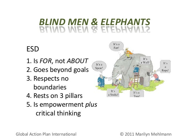 BLIND MEN & ELEPHANTS ESD 1. Is FOR, not ABOUT 2. Goes beyond goals 3. Respects no boundaries 4. Rests on 3 pillars 5. Is ...