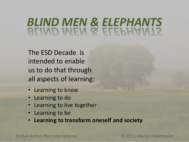 BLIND MEN & ELEPHANTS The ESD Decade is intended to enable us to do that through all aspects of learning: • • • • •  Learn...