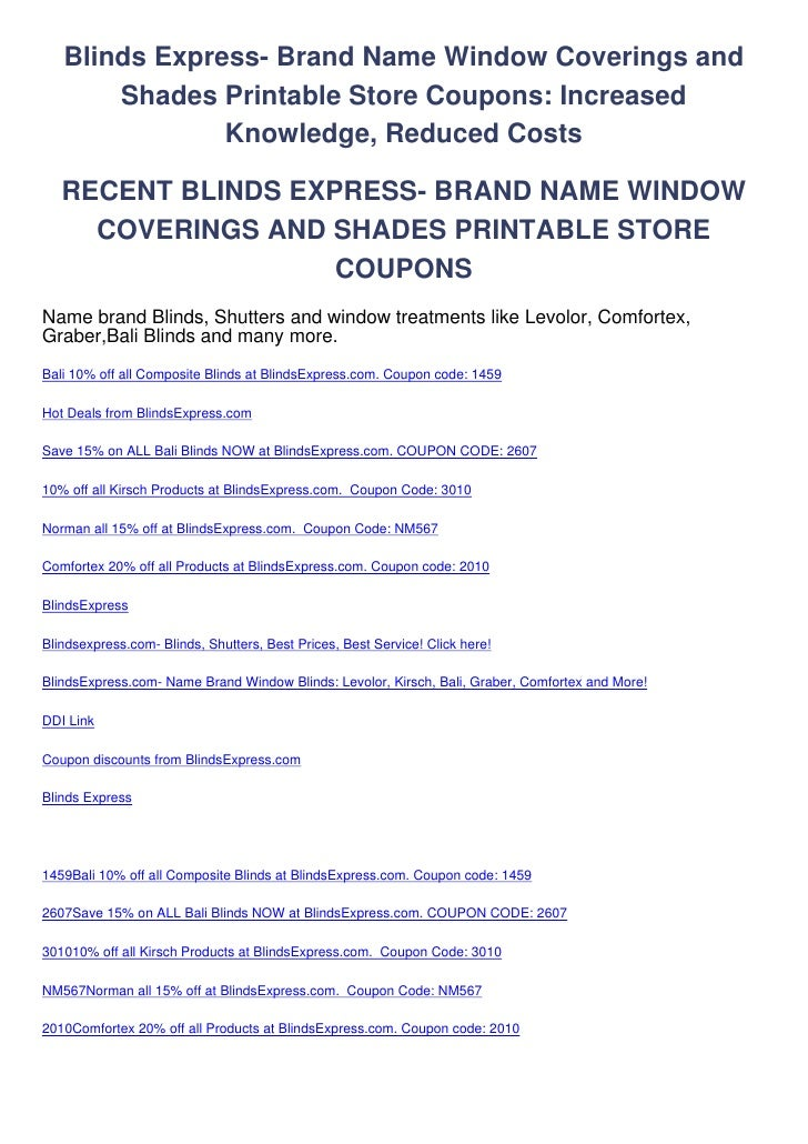Blinds Express- Brand Name Window Coverings and       Shades Printable Store Coupons: Increased               Knowledge, R...