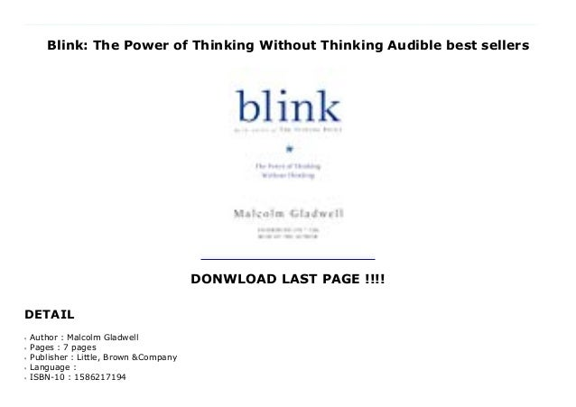 Blink The Power of Thinking Without Thinking
