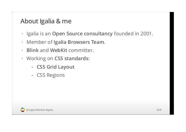 CSS Grid Layout. Specification overview. Implementation status and roadmap (BlinkOn 2 2014) Slide 3