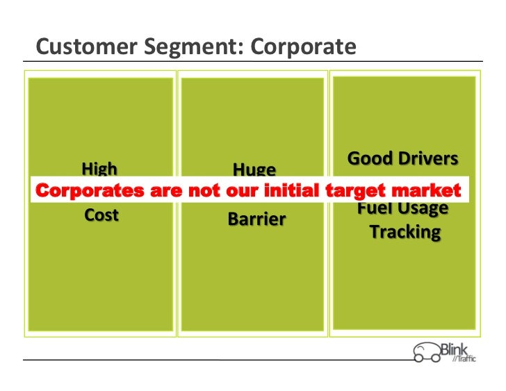 Customer Segment: Corporate Corporates are not our initial target market