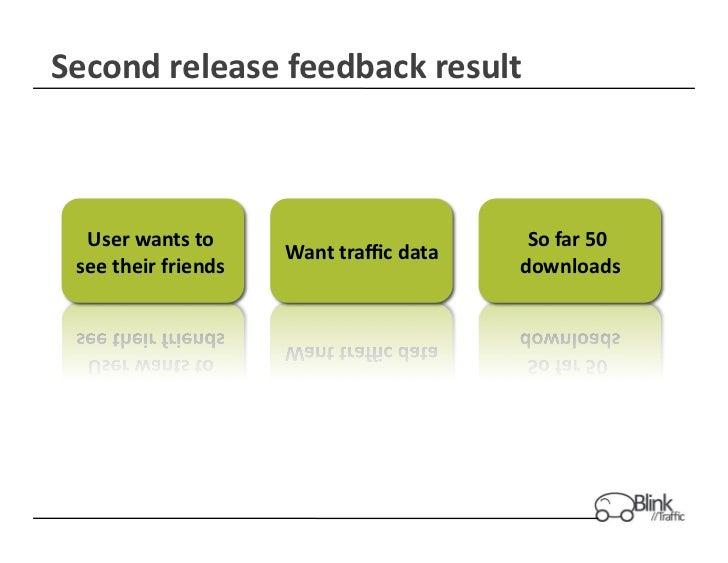 Second	  release	  feedback	  result	     User	  wants	  to	                                       So	  far	  50	         ...