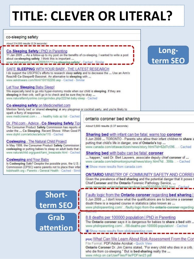 TITLE: CLEVER OR LITERAL? Long- term SEO Short- term SEO Grab attention