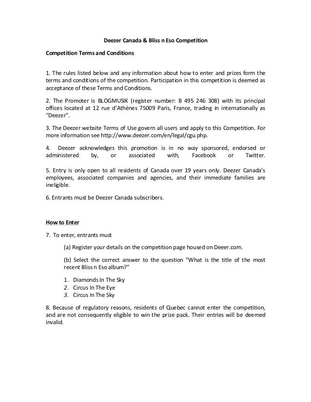 Deezer  Canada  &  Bliss  n  Eso  Competition     Competition  Terms  and  Conditions      1.  ...