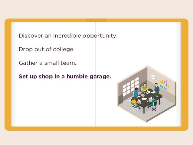 Discover an incredible opportunity. Drop out of college. Gather a small team. Set up shop in a humble garage.