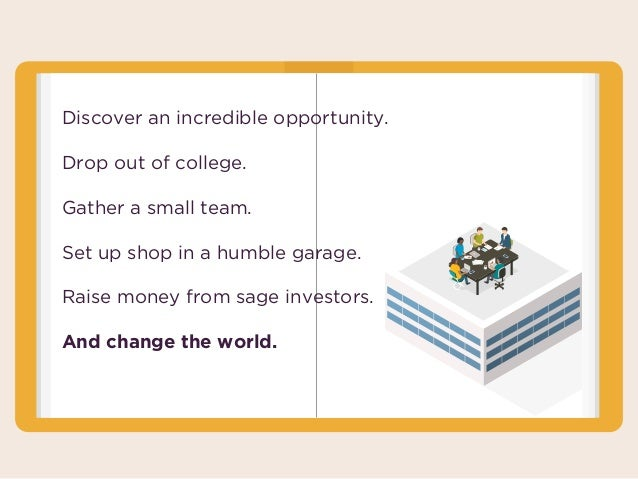 Discover an incredible opportunity. Drop out of college. Gather a small team. Set up shop in a humble garage. Raise money ...