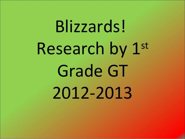 Blizzards!Research by 1 st   Grade GT  2012-2013