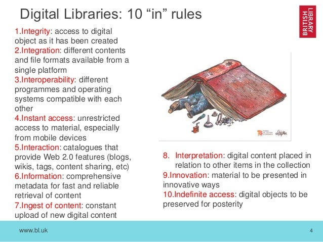 """www.bl.uk 4 Digital Libraries: 10 """"in"""" rules 1.Integrity: access to digital object as it has been created 2.Integration: d..."""