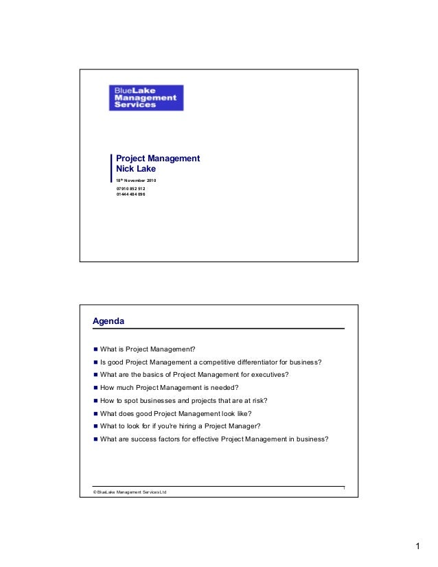 1 18th November 2010 Project Management Nick Lake 07910 852 512 01444 484 096 1 © BlueLake Management Services Ltd What is...