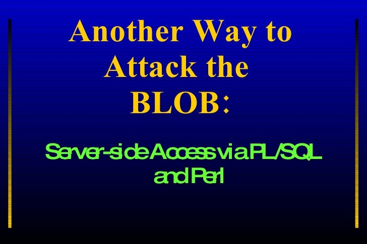 Another Way to Attack the  BLOB: <ul><li>Server-side Access via PL/SQL and Perl </li></ul>