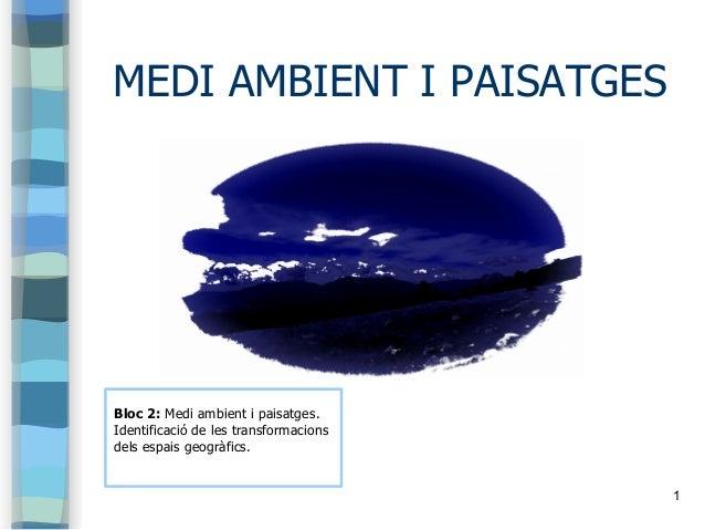 1 MEDI AMBIENT I PAISATGES Bloc 2: Medi ambient i paisatges. Identificació de les transformacions dels espais geogràfics.