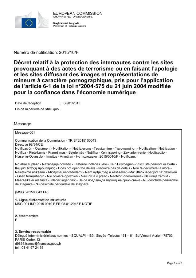 Numéro de notification: 2015/10/F Décret relatif à la protection des internautes contre les sites provoquant à des actes d...